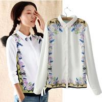2014 spring fashion sleeves print chiffon long-sleeve shirt small fresh shirt female top