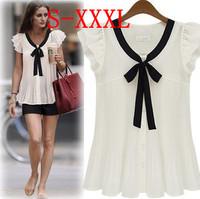 Spring New 2014 Summer Women Blouse Ladies Casual Vintage  Fashion Short Sleeve Chiffon Shirt Plus Size XXL XXXL White Blouses