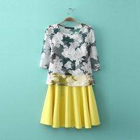 2014 summer fashion organza print short-sleeve T-shirt bust skirt casual set female