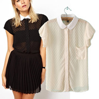 2014 summer fashion floating sos peter pan collar short-sleeve T-shirt pullover female top