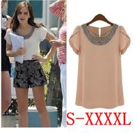 EU 2014 New Fashion Women Loose Big Size Chiffon Blouse Casual Retro Beading O-neck Pullover Summer Shirts Plus Size Shirt S-4XL