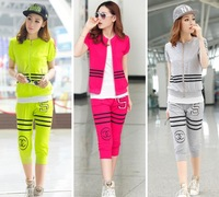 2014 new women's casual three-piece suit Korean fashion sport zipper sweater set (coat+ pants + vest)
