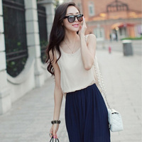 free shipping new arrival 2014 summer women's small fresh plus size chiffon one-piece dress summer sleeveless vest full dress