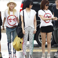 2014 summer dara 2ne1 white short-sleeve round neck T-shirt 6892