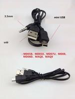 2pcs 3.5mm AUX USB Male TO Mini USB for Portable Speaker Audio Cable
