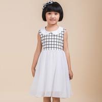 2014 New Korea Style doll collar  sleeveless girl princess dress summer children outwear  kids dress(TGX1408201B)