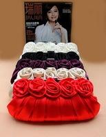 2014 new fashion rose shape flowers women handbag evening bag luxury small chain shoulder bag clutch free shipping 03649
