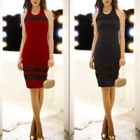 2014 New Fashion women Dress Slim Sexy Club Backless Splicing Sleeveless Sundress 3409
