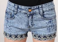 2014 new brand summer vintage sexy denim lace jeans shorts women high waist  plus size feminino cotton hot short pants KR618