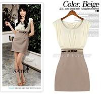 2014 New Women Summer Dress OL Style sleeveless slim high elegant o neck tank casual one-piece size S-XL