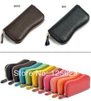 Fashion 10 Colors Cow Split Leather Men Women Key Wallets / Purses / Keychain Zipper