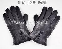 fashion women genuine sheepskin leather gloves Winter warm black ladies leather gloves  24x12cm