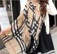 Drop Shipping new 2013 autumn -summer big size classic plaid the scarf Women chiffon grid silk scarf lady soft neckerchief shawl