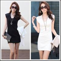 New 2014 women summer dress OL V-neck sleeveless lace dress black white dress women clothing bodycon dress plus size M-XXL