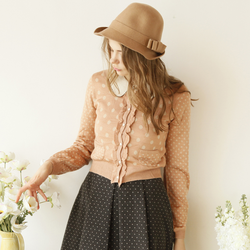 2014 long-sleeve spring female thin cardigan short sweater ruffle hem single breasted dot knitted outerwear(China (Mainland))