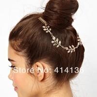18k Gold Leaf Hair Chain