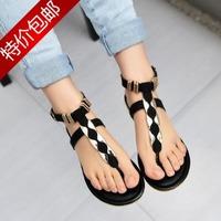 New 2014 Women's T belt Sandals Woman's Flats Shoes Free Shipping brand Summer Sexy flat 35-39