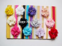NEW Flower Headbands Bling Triple Soft Chiffon Pearl Diamond Flower with Shimmer Headbands Girls Hair Accessories 5pcs/lot