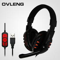 Freeshipping New 1pcs/lot OVLENG Q7 USB computer headphones Wholesale business music game headphones good quality
