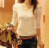 2014 Brand Autumn Spring New Women's Casual And Fashion Shirt Lace Collar Tops Cute Elegant Long Sleeves Blouses Woman Clothes