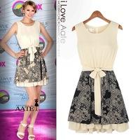 New summer dress in Europe and America big totem stitching lace sleeveless dress Women