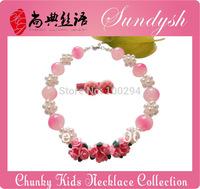 Beautiful Handmade Pink Flower Necklace Bead Treasures Kid Jewelry Set Kids