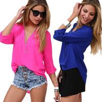 New  2014 Sexy Plus Size Women  Long-sleeve Chiffon Loyal Blue Plum Summer Shirts Blouses Top   for Women
