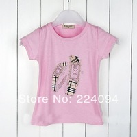 Free shipping 2014 girls t-short fashion baby grils t-short   kid's t-short children's t-short kids summer 2-6 years old