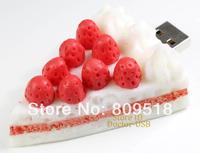 Lovely PVC Rubber Strawberry Cake USB Drive 1GB 2G 4GB 8GB 16GB 32GB Memory Flash Stick 2.0 Pendrive Genuine