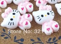 Free ship!!!    Sitting powder coat KT cat  28*18mm  cream phone beauty DIY accessory  wholesale