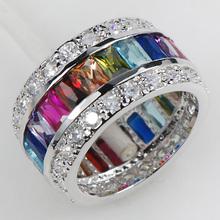 Morganite Blue Topaz Garnet Amethyst Pink Sapphire Women 925 Sterling Silver Ring KR07 Size 6 7 8 9 10 1
