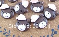Free ship!!!    Smiling face bear in cap  18mm  cream phone beauty DIY accessory  wholesale