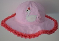 (5 Pcs/Lot) 4 Sizes Hot Pink Lace Lovely White Swan 1~6 Years Cotton Baby Children Girl's Sun Hats