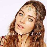 Ceative Gold Hand Blue Stone Bohemia Hair Chain