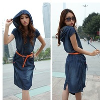 Fashion European Style Vintage Slim Women's Blue Denim Dress With Belt Short Sleeve Hooded Jeans Dress
