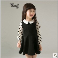 Hot Selling Children's summer Lolita Style Clothing girls simple cool Dot beach dress free shipping