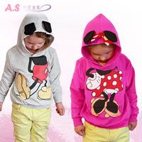 Retail 2014 baby clothing children Boy Girls sweater Hoodies Mickey Minnie Sweatshirts Mouse Cartoon Top Kids coat