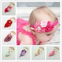 10pcs NEW 2014 hot sale  fashion Ruffles Rose Flower Hair Ribbon Baby headband girls hair accessoies