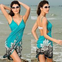 1pcs Sexy Lake Blue with White Flowers Bikini Swimwear Cover Up Swim Suit Bathing Suits Beach Dress