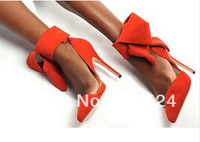 2014 Hot selling Big Bowtie Pumps black/orange/green/blue/red/pink suede leather high heel wedding pumps ankle Fashion sandals