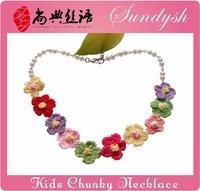 Fancy Crocheted Flower Pearl Beads Handmade Babies Necklace Kids Jewellery