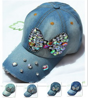 Wholesale  women's Famous brand cool cap&hat Outdoor cotton Denim Fashion baseball cap peaked hat
