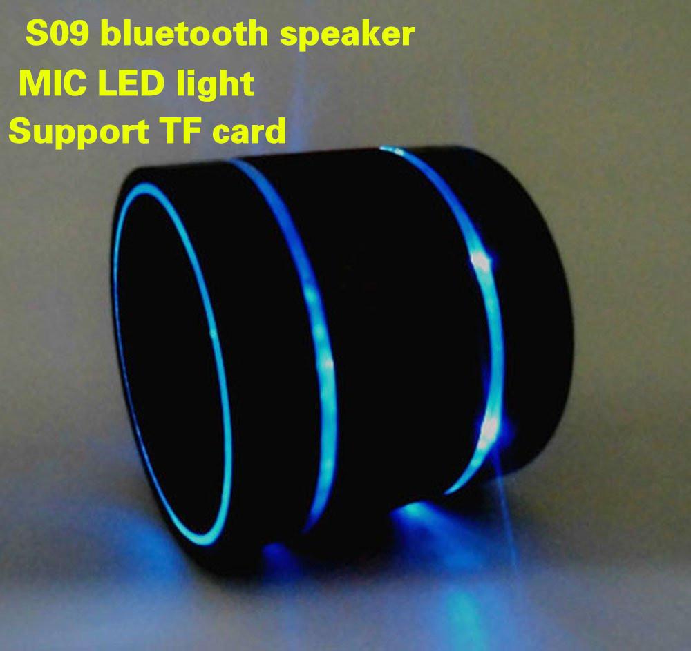 2014 new mini S09 portable bluetooth speaker built-in MIC 3 LED light rings various colors music speaker(Hong Kong)