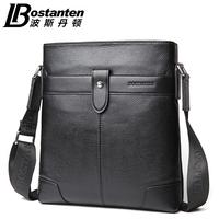 Commercial male shoulder bag solid color genuine leather men messenger bag