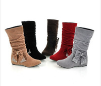Big size US 4-15 New lovely Style BIG Biwte Rhinestone Mid Calf Faux suede boots Flat women's shoes MLE-608-1