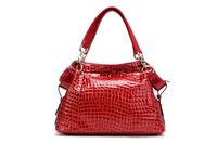 ( Red  ) Crocodile Embossing Handbag Split Leather Ladies' Handbag shoulder bag