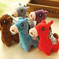 4658 Free shipping fashion cute mini cartoon horse Alpaca key chain 5 colors