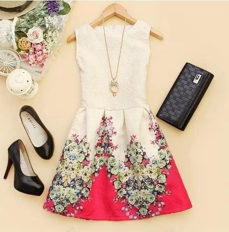 5640 New 2014 Women Summer Casual dress Korean ladies round neck sleeveless vest bottoming Slim flower print cloth(China (Mainland))