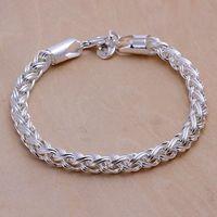 Luxury Fashion 925 Silver Bracelet Jewelry ! Trendy Women Men Beautiful Twisted Circle Chain Bracelets H070