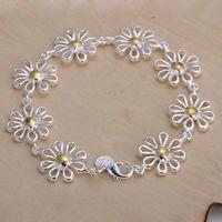 Luxury Fashion 925 Silver Bracelet Jewelry ! Trendy Women Men Beautiful Flowers Chain Bracelets H069